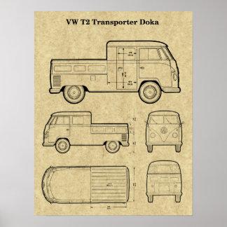 Poster Affiche de T2 Doka Van Patent Print - papier âgé
