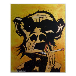 Poster Affiche de tabagisme de singe par NJPunks