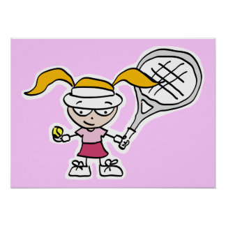 Poster Affiche de tennis avec la bande dessinée de joueur
