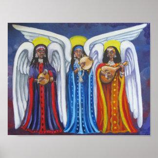 Poster Affiche de trio de musique d'ange