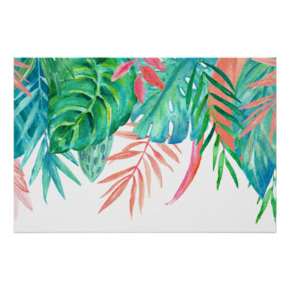 Poster Affiche de Tropicals d'aquarelle