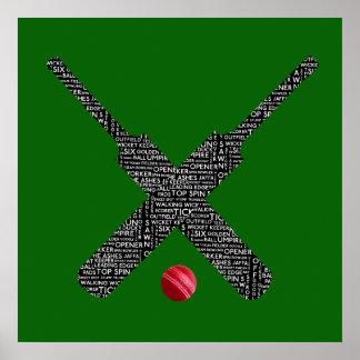 Poster affiche de typographie de cricket