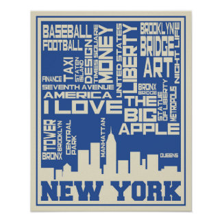 Poster Affiche de typographie de New York City
