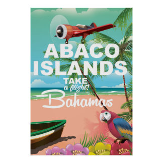Poster Affiche de vacances de plage d'îles d'Abaco