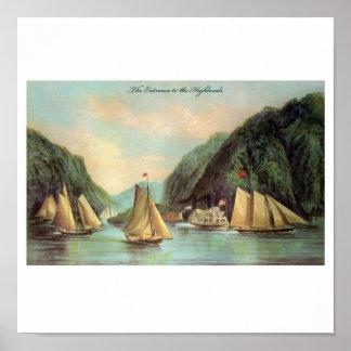 Poster Affiche de vapeur et de bateau de navigation