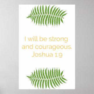 Poster Affiche de vers de bible, 1:9 de Joshua