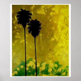 Poster Affiche de vert d'or jaune de silhouette de