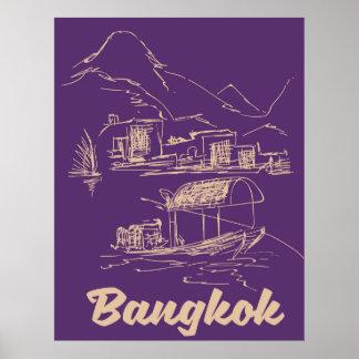 Poster Affiche de voyage de Bangkok, Thaïlande