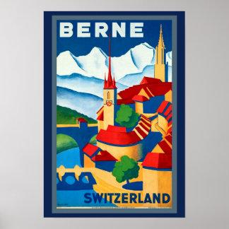 Poster affiche de voyage de Berne Suisse des années 1930