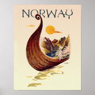 Poster Affiche de voyage de la Norvège