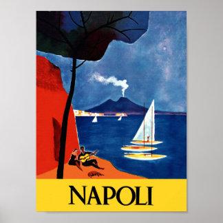 Poster Affiche de voyage de Naples, Italie