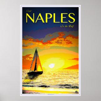 Poster Affiche de voyage de Naples la Floride -