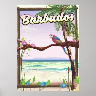 Poster Affiche de voyage de paysage de perroquet des