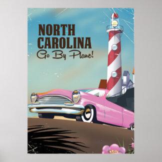 Poster Affiche de voyage de phare de la Caroline du Nord