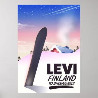 Poster Affiche de voyage de snowboarding de Lévi Finlande