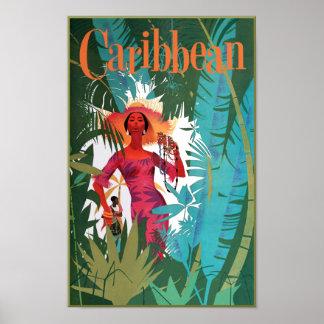 Poster Affiche de voyage des Caraïbe