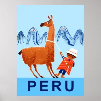 Poster Affiche de voyage du Pérou