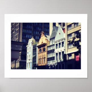 Poster Affiche de vue de rue d'architecture de Cape Town