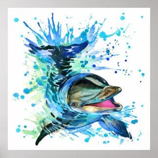 Poster Affiche d'éclaboussure de dauphin d'aquarelle