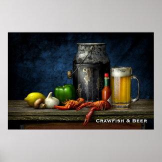 Poster Affiche d'écrevisses et de bière