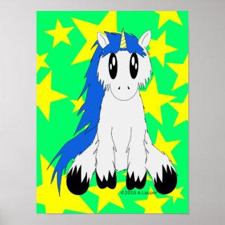 Poster Affiche délabrée mignonne de licorne (bleue)