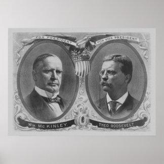 Poster Affiche d'élection de McKinley et de Roosevelt