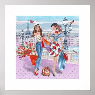 Poster Affiche des filles d'achats   Paris 