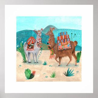 Poster Affiche des produits naturels   de bleu des lamas