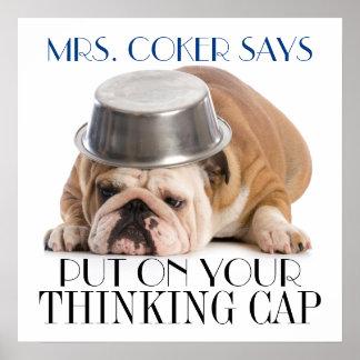 Poster Affiche d'humour d'école de casquette de pensée