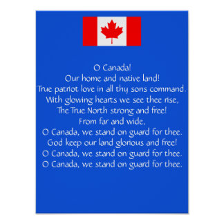 Poster Affiche d'hymne national du Canada