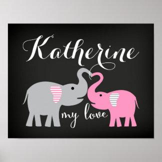 Poster Affiche d'impression d'art de crèche d'éléphant de