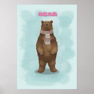 Poster Affiche d'impression d'art d'ours