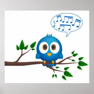 Poster Affiche d'oiseau de chant