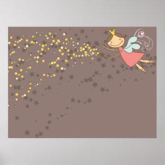 Poster Affiche douce de fée et d'étoiles