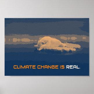 Poster Affiche d'ours blanc de changement climatique