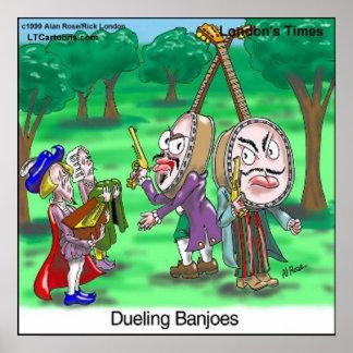 Poster Affiche drôle de bande dessinée de banjos de duel