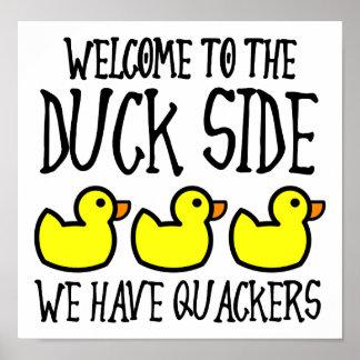 Poster Affiche drôle de biscuits latéraux de canard