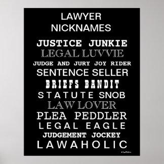 Poster Affiche drôle de bureau de surnoms et de synonymes