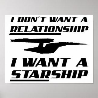 Poster Affiche drôle de Starship de rapport