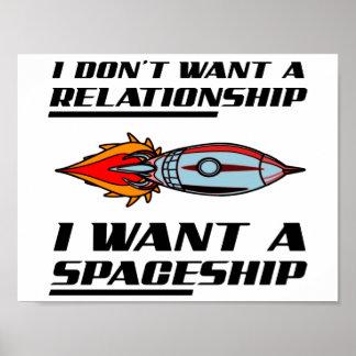 Poster Affiche drôle de vaisseau spatial de rapport