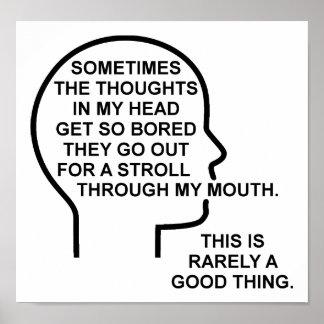 Poster Affiche drôle ennuyée de pensées