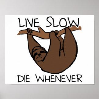 Poster Affiche drôle lente vivante de paresse