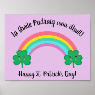Poster Affiche du jour de St Patrick d'Irlandais avec