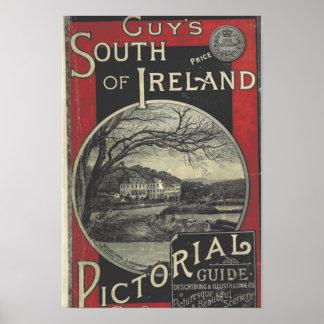 Poster Affiche du sud vintage de tourisme de l'Irlande