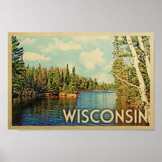 Poster Affiche du Wisconsin - copie vintage de voyage de