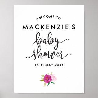 Poster Affiche élégante d'accueil de baby shower de roses