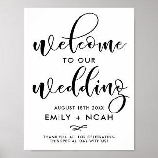 Poster Affiche élégante noire de signe de mariage