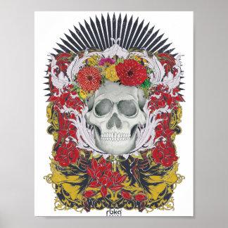 Poster Affiche embellie de crâne de fleur