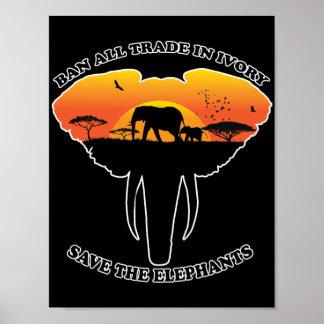 Poster Affiche ene ivoire commerciale d'interdiction