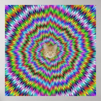 Poster Affiche étourdie avec le chat de Hypno